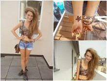 Danielle Quinn - Bra Top, High Waist Denim Shorts, Black Biker Boots, Brown Leather Bag, Brown Leather Belt - Fake tattoos and lots of nakedness = time for a fesssstival