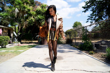 Olivia Lopez - Asos Shearling Jacket, Cheap Monday Lace Body Suit, Jeffrey Campbell Starburst Boots, Thrifted Camel Backpack - Back to School