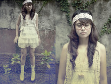 Dominique Marie Tiu - Custom Made Nude Platform Pumps, Les Roux Lace Hippie Headband, Brown Eyeglasses, Floral Necklace, What A Girl Wants Knit Vest, What A Girl Wants Semi Crochet, Semi Lace Dress, H&M White Socks - Let's go back to yesterday
