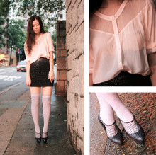 Mayo Wo - H&M Pale Pink Shirt With Polka Dots Lace, H&M Studded Mini, Viktor & Rolf Fishnet Pumps - Viktor & rolf x h&m