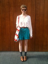 Maggie Matic - Sportsgirl White Blouse, Beyond Retro London Turqouise Shorts, Vivienne Westwood Star Print Canvas Bag, Office Brown Brogues - 