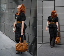 Merl . - Vintage Peplum Dress, Vintage Leather Belt, Clyde's Rebirth Necklace - I-F-B...[m-o-u-s-e]