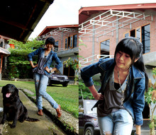 Marsha Hamrah - Denim Jacket, Gray Tee, Diy Ripped Jeans, I Dont Know ^^, Austin My Fave Flats ^^, My Dog ^^ - I've been watching but the stars refuse to shine