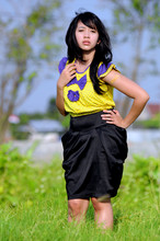 Fira Nathania - Clique Boutique Yellow Purple Bow Shirt, Chloé Black Puff Skirt - Bow dont always have a happy ending