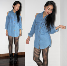 Meijia S - No Brand Denim Shirt, Striped Tights, Lace Up Boots - Peep-shoulder
