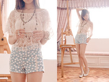 Valerie Chua - Forever 21 Leaf Drape Necklace, Yhansy Flower Connector Ring, Japan White Pumps With Back Ribbon, Accessorize Gold Bangles, Pink Manila White Cropped Knit Blouse, Zara Heart Shorts - Blue, the color of our planet from far far away.