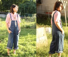 Bell Tessalee - Mango Bird Necklace, Vintage Shirt, Gap Vintage Overalls, Vintage Mary Janes - New york farmgirl