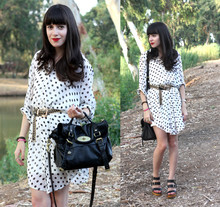 Fashion Pea - Steve Madden Chunky Wooden Sandals, Onot Polka Dot Oversized Blouse, Mulberry Alexa Bag - Down by the river