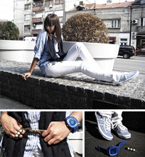 Aleksandra S. - Bikbok Shirt With Blue White Stripes, Dark Blue Shawl, House Leather Belt, H&M Two Fingers Ring, Springfield White Jeans, Sneakers With Blue White Stripes - Under The Sun ____