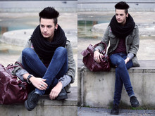 Dustin H. - Vintage Jacket And Bag, H&M Scarf, American Apparel Tee, Cheap Monday Jeans, Camden Town Creepers - I'll never be good enough