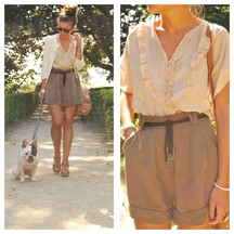 Alexandra Per - Queens Wardrobe Shirt, Blanco Shorts, Zara Purse, Blanco Heels, Bershka Cardigan, Persol Sunglasses - Soft sunshine