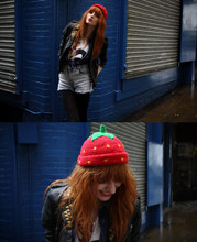 Olivia Emily - Strawberry Hat, Studded Jacket, Denim Shirt, Union Flag/Crown Top, Stonewash Shorts, That's My Knee - Strawberry Shortcake.