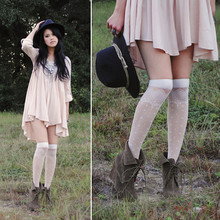 Trang Huyen - H&M Billowy Frock, Chain Statement Necklace, Random Hat, Hue Knee High Socks, Zara Wedge Ankle Boots - Sweet Disposition.