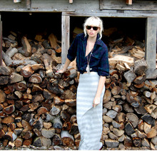 Betsy Berger - Vintage Plaid Shirt, Topshop Maxi Skirt - WOODEN
