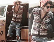 Bobby Raffin - Beanie, Thrifted Vintage Cardigan, Ripped Jeans, Thrifted Vintage Shades - Let's go back to the 70's