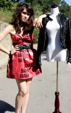 L Hueb - Handmade Diy Duct Tape And Danger Tape Dress, Ruffled Pleather Jacket, Betsey Johnson Bow Belt - Diy duct and danger tape dress