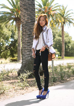 Aimee Song - Chanel Tweed Jacket, Anarchy Street Slashed Skinny Jeans, Bakersshoes Blue Suede Pumps, Chanel Handbag - Chanel for the Day