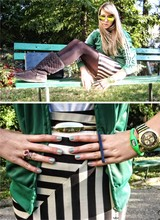 Marina Arnaut - Adidas Green Jacket, H&M Striped Skirt, Accessorize Gold Belt, Ringeraja Ring - Green ON!