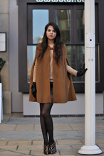 Doina Ciobanu - Zara Camel Cape, Zara Cashmere Sweater, Giorgio Armani Brown Golden Booties - JE T'ADORE