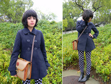 Melanie Likes - Urban1972 Peacoat, Urban 1972 Polka Dotted Leggings, Dooney & Bourke Bag, Vintage Ankle Boots - Urban 1972