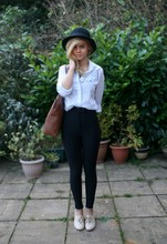 Chloe Waugh - American Apparel Riding Pant, Vintage Ruffle Blouse, H&M Wool Hat, L.Credi Bag - I am afraid of everyone.
