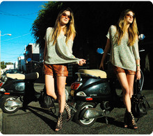Laura Ellner - Vince Metallic Knit, Zara Leather Shorts, Jeffrey Campbell Sandals, Alexander Wang Diego Bag, Christian Dior Vintage Sunglasses - Sunshining Armor