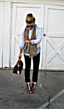 Maegan Tintari - Louis Vuitton Speedy Bag With Rabbit's Foot Charm, Diy Leopard Print Scarf, J Brand Cuffed Black Skinny Jeans, Sam Edelman Lace Up Granny Boots - One is the loneliest number than you'll ever do