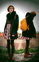 Torunn Splitter - Dr. Martens Dr, Awesome Yellow Twoside Beret, Awesome Scarf That Has No End, Fjällräven Kånken, Oversize Blazer, Schoolgirl Skirt, Wool Socks With Stuff On Strings - Home sweet hometown