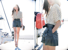Nicole Warne - Gary Pepper Vintage Leather Bow Shorts, Thrifted Polkadot Top, Miu Platforms, Fur Clutch - Yellow dots & afternoon yachts.