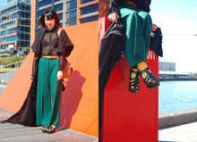 SHERYL MILK - Nine West Platform Glads, Yellow Sockies, Black Poncho/Scarf, Vintage Myer Wool Waisted Pants, Witchery Sheer Blouse, Black Knitted Oversized Jacket - The Shed