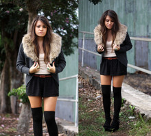 Alyssa J. - Ross Fur Stole Cardigan, American Rag Tap Shorts, American Apparel Thigh High Socks - STOLE my heart