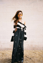 Olivia Lopez - Crochet Knit Striped Sweater, Unif Grommet Skirt - Wasteland