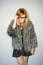 Kitty Cotten - Geisha Pearl Vintage Faux Fur Jacket, Vintage Dress - Woolly mammoth