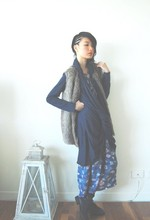 SHERYL MILK - Gary Bigeni Twist 'N' Swirl Cardi, Knitted Back Fur Vest, Vintage Floral Dress, Boots - Bed of violet roses.