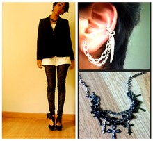 Gabby G - Crossed Necklace, Cabi Black Blazer, Zara Soft Cotton Tee, White Shorts, Black Leggings, Black Shoes, Diy Ear Cuff - Good girls go bad
