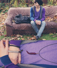 Yannick K. - Borrowed From My Brother Cardigan, Circle Neck Tee, Cheap Monday Light Blue Skinny Jeans, Grey Oxfords, Violett Feather Necklace, Black Bag - This could be the end of everything