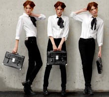 Ebba Zingmark - Cheap Monday Jeans, Vila Shirt, 2hand Bag - Business Class