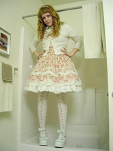 Courtney Riddle - Bodyline Lolita Skirt, Wal*Mart Cardigan, Gap Rose Tights, Montreal Bow Platforms - Valentine's day 2009
