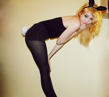 Rose A - H&M Strapless Top, M&S Pants, M&S Tights, Customised Hat As A Tail, Asda Bunny Ears - Happy halloween bunny