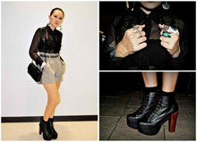 Kookie B. - Love Sheer Blouse, Forever 21 Olive Shorts, Jeffrey Campbell Boots - PFW: F&H Fashion Show