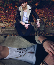 Yannick K. - Cat Paul, Zara Aviator, Golden Feather Necklace, White Self Shredded Vest, Cheap Monday Black Skinny Jeans - Love, there are things I've never said.