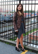Nicole S. - Zara Faux Leather Shearling Jacket, Club Monaco Sheer Silk Dress, Jeffrey Campbell Mariel Wedge, Coach Vintage Cross Body Bag - The words have gone but the meaning will never disappear