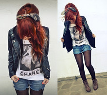 Lua P - Forever 21 Leather Jacket, Barefeet Shoes Boots, Transfered By Me Tee, Old Rag - Switching off