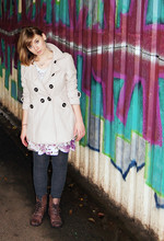Rachel Suzanne - Trench Mac, Primark Military Boots, Cow Vintage Floral Dress, Trench Mac, New Look Knitted Tights - Graffiti
