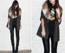 Caylee M. - Hammered Knuckle Ring, Cross Ring, Lowluv X Erin Wasson Scarab Ring, H&M Faux Fur Scarf, Guns N Roses T Shirt, Bb Dakota Tweed Boyfriend Blazer, H&M Faux Leather Pants, Forever 21 Wedge Ankle Boot, Forever 21 Watch - Glam rock.