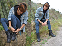 Gianni Sarracino - Magnum Worker Boots, Tommy Hilfiger Vintage, H&M Basic Black Sweatshirt - But the Air was full of Sound