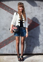 Ines Raskolnikov - Diy Jacket, Undefined Denim Short, Union Jack Bag - Sweet Jane -