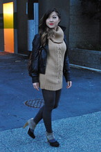 Nicole S. - Joe Fresh Cowl Neck Sweater, H&M Leather Jacket, Joe Fresh Opaque Tights, Loeffler Randall Suede Tri Color Booties - Joe Fresh Style
