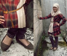 Amalia Hani - Hijab, Long Shirt, Layers Dress, Skinny Jeans, First Wedges, Thick Belt - In my backyard