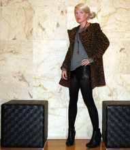 Margaret Shaw - Zara Leopard Print Jacket, Nation Grey Sweatshirt, 3.1 Phillip Lim Quilted Leather Shorts, Sam Edelman Black Zoe Ankle Boots - Like Foxes Through Fences